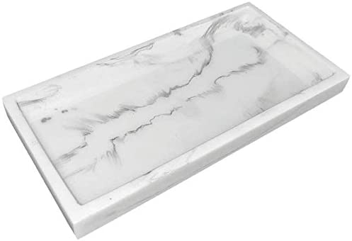 Marbellous White Marble Resin Tray Small Vanity Tray Bathroom Kitchen Organizer Serving Decorative Tray for Jewelry Ring Dish Soap Perfume Candle Cosmetic Bottle Holder