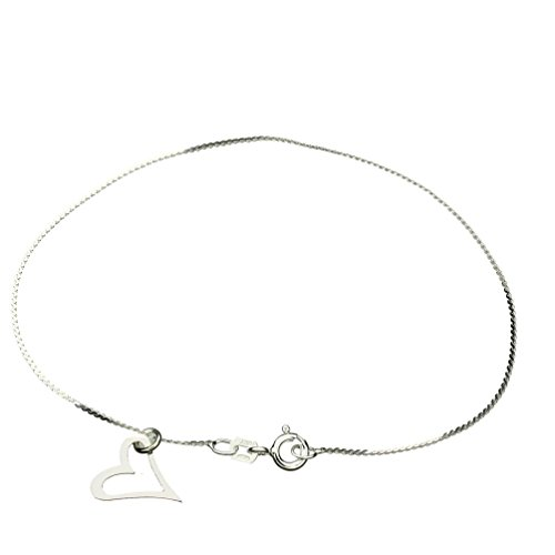 (Sterling Silver Heart Charm Serpentine Nickel Free Chain Anklet Italy, 9.5