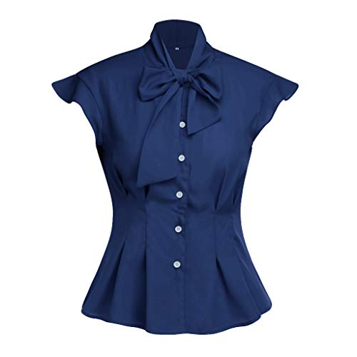 ✔ Hypothesis_X ☎ Women's Casual Solid T Shirts Round Neck Tulip Short Sleeve Blouse Tie Front Solid Chiffon Tops Blouses Navy