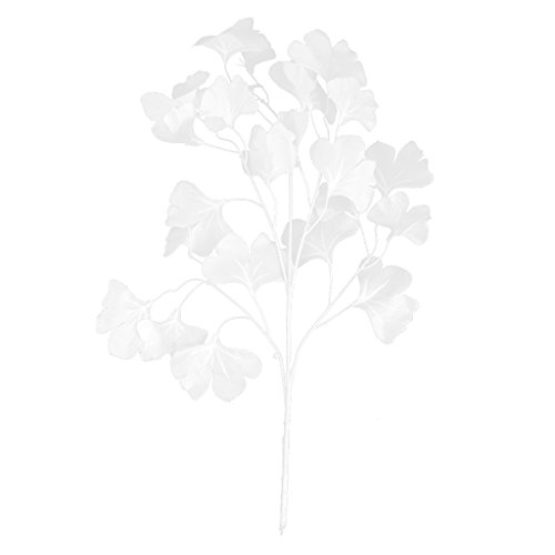 12pcs Artificial Ginkgo Leaf for Home Wedding Garden Decoration White