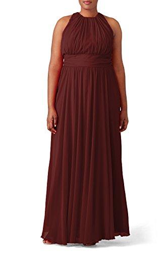 Partei Damen Brautjungfernkleid Burgundy der Kleid Fußboden Gefaltetes Frauen Irenephil Elegantes Längen Abend Chiffon aw0CqnAC