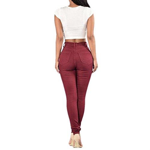 Trou Wine BBethun Couleur Color XL Solide Size Red Elastique Red Jeans Mode Pieds Wine Femmes qqrOawFxE