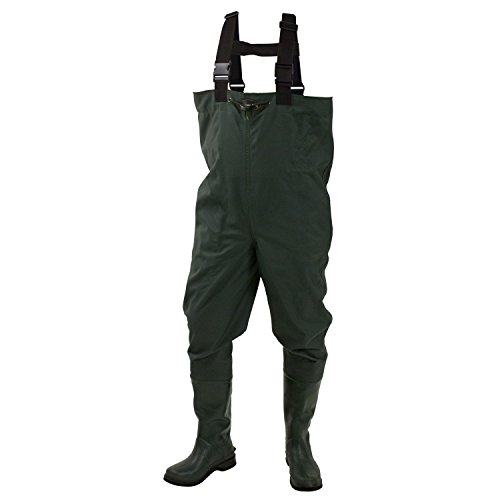 Frogg Toggs Cascades 2-Ply Rubber Bootfoot Felt Sole Chest Wader, Forest Green, 12