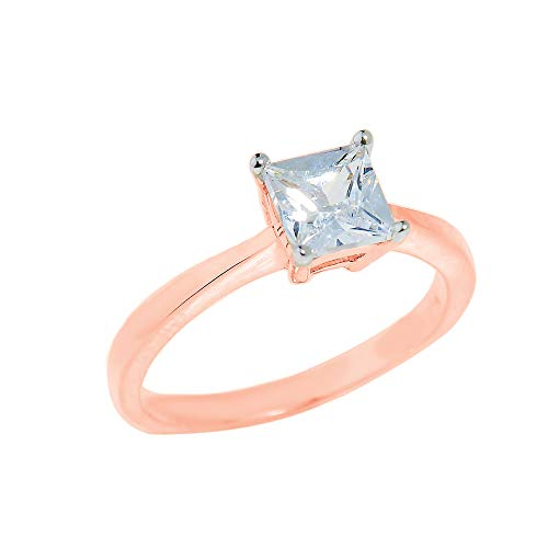 (Elegant 10k Rose Gold Four-Prong Princess Cut CZ Solitaire Engagement Ring (Size 7))