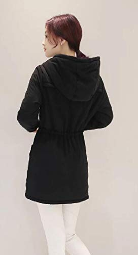 Black EKU Women's Sleeve Hoodie Lining Fleece Drawstring Coat Long 81a8AnOq