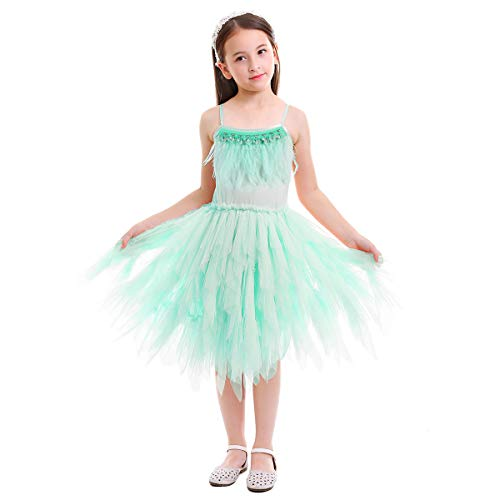 Kids Girls Spaghetti Strap Lace Feather Fringes Tutu Tulle Swan Princess Dress Ruffles Backless Ballet Leotard Dance Skirted Pageant Party Wedding Formal Birthday Cake Short Tiered Gown Green 2-3 ()