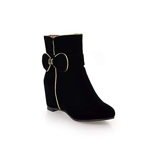 Martin black Altas y Botas Invierno Botas Grandes Botas Mujer para Zapatos Martin Sandalette Bow DEDE Belleza e otoño Botas de Botas Dulce qw01AvaBx