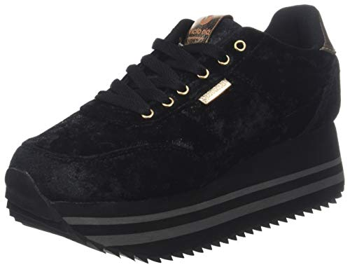 Donna Nero 10 Victoria Sneaker Plataforma Deportivo Terciopelo negro qx6wHB