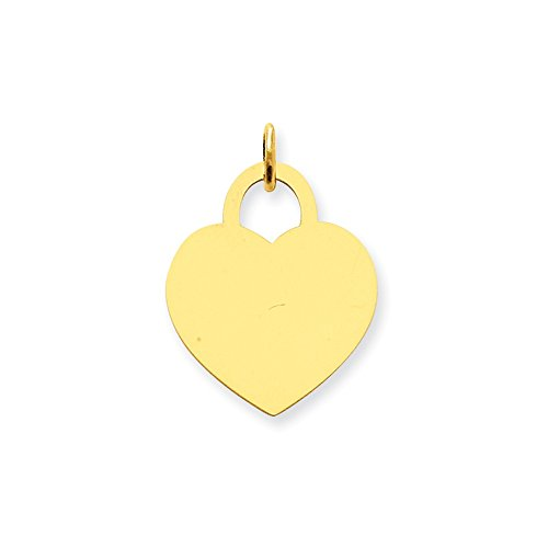 14k Yellow Gold Large Engravable Heart Pendant Charm Necklace Disc Designer Shaped Fine Jewelry Gifts For Women For Her
