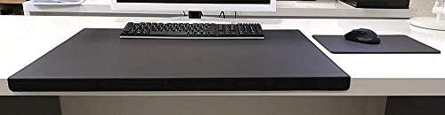 Gewinkelte Schreibtischunterlage mit Kantenschutz Echt Leder Schwarz 60 x 38cm Echt Rindsleder glatt ohne Mousepad