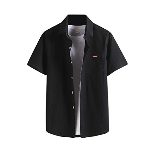 - OVERDOES Men's Short Sleeve Wrinkle Resistant Easy Care Button Up Business Shirt Blouse Black