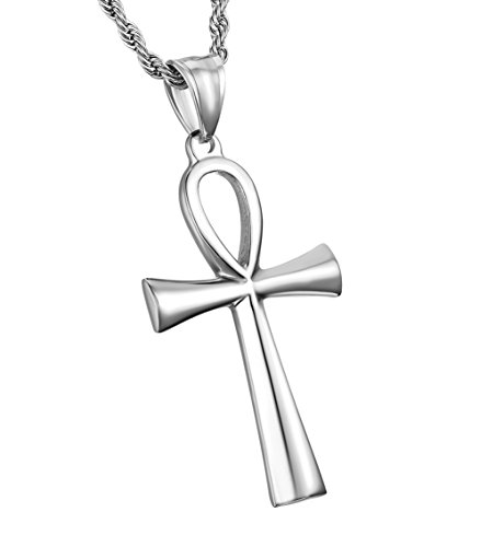 HZMAN Men's Gold Stainless Steel Coptic Ankh Cross Religious Pendant Necklace, 24