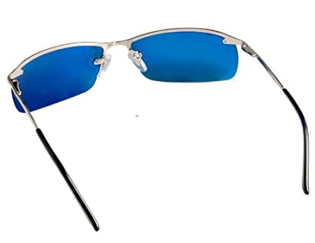 26ca2586b8 OREKA 3187 Silver Nickel Alloy Frame   Dark Blue Polarized Lenses Driver s  Glasses Sunglasses (Dark Blue) M.  Amazon.co.uk  Sports   Outdoors