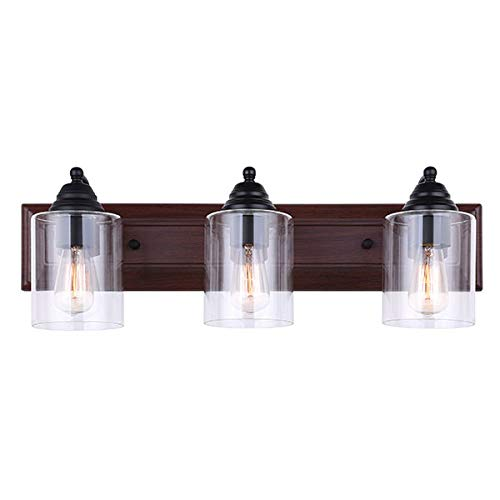 Canarm Balsa 3 Light Vanity Light with Clear Glass and Matte Black Faux Wood Finish