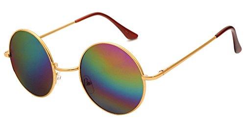 Goggles amp; Rond Rétro soleil Lunettes Hommes pour Or Steampunk de Punk miroir UV400 Femmes BOZEVON multicolore 84wPgP