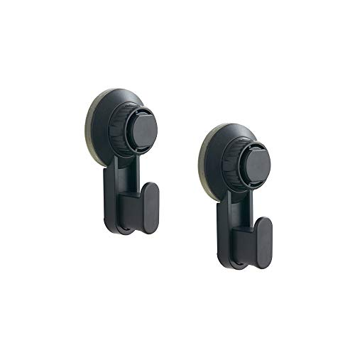 Suction Cup Hanger Hooks, Strong Locking Wreath Suction Hangers for Bathroom Door, Kitchen and Laundry by Whale Life - (Matte Black, 2 Pack)