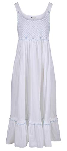 The 1 for U 100% Cotton Nightgown with Smocking and Pockets - Paige (XXXL, White)