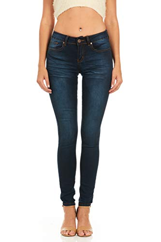 Cover Girl Junior's Women Mid Rise Slim Fit Stretchy Skinny Jeans, Dark...