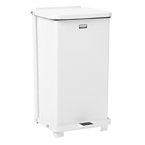 (Rubbermaid Commercial Defenders Step-On Trash Can with Plastic Liner, 12 Gallon, White, FGST12EPLWH)
