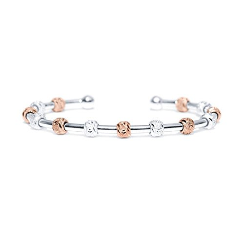 (Chelsea Charles Count Me Healthy Journal Bracelet - Two Tone Silver and Rose Gold with Silver Cuff )