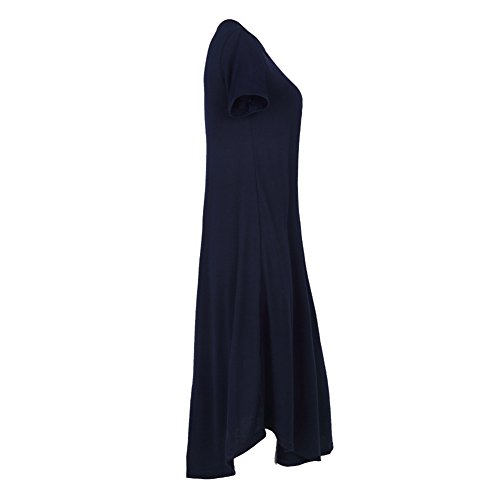 YOUJIA Mujeres Asimétrico Vestidos Manga corta Cuello redondo T-Shirt Camiseta Blusa Vestido Negro