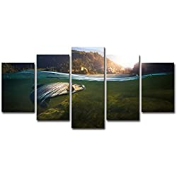 Paintings HD Printed Modern 5 Piece Canvas Art Fishing in River Hooked Painting Wall Pictures for Living Room Home Décor