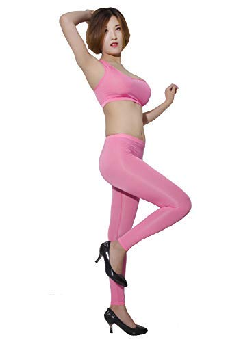 77514f3fede8 Sexy Cami Women Bright Pink Stretching Tank Crop Top and Leggings Hot Pants  Lingerie Set at Amazon Women's Clothing store: