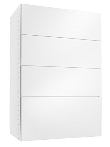 Modular Closets Solid Wood Wall Mountable 4 Drawer 14 in. Depth Drawer System For Closet, Office - White (18