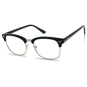 Classic Half Frame Horn Rimmed Clubmaster RX Reading Eye Glasses Prescription Lens (Black Gold Frame, 2.0)