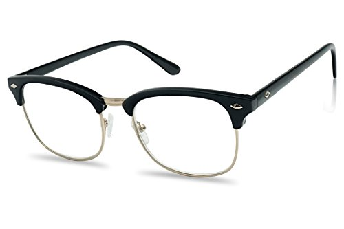 Classic Half Frame Horn Rimmed Clubmaster RX Reading Eye Glasses Prescription Lens (Black Gold Frame, - Glasses Frame Chart Size
