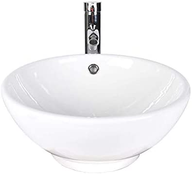 Elecwish Bathroom Vessel Sink With Faucet Combo With Overflow Ceramic Round Bowl White 1 Usba20080 Buy Online At Best Price In Uae Amazon Ae