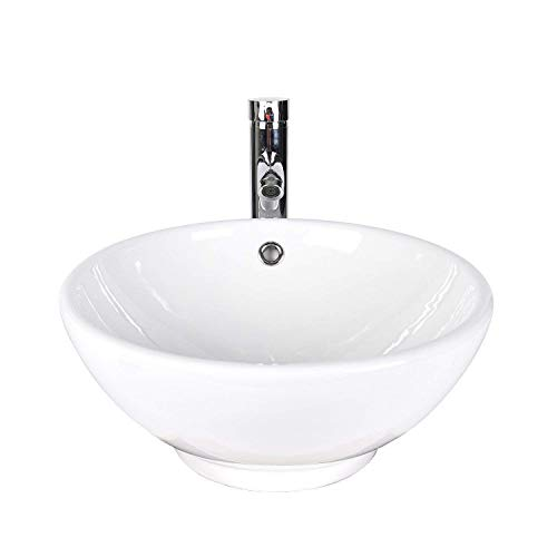 - ELECWISH Bathroom Vessel Sink with Faucet Combo with Overflow Ceramic Round Bowl (White 1)