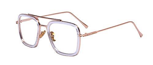 Outray Retro Aviator Sunglasses Square Gold Metal Frame for Men Women Sunglasses Classic Iron Man Tony Stark Shades (Transparent Frame/Clear Lens, ()