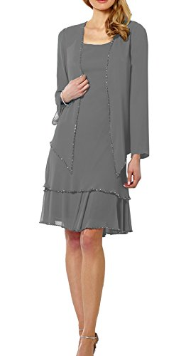 Ethel Women's Chiffon Mother of The Bride Dresses matching long sleeve Jacket with Beaded