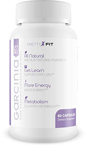 Pretty Fit Garcinia Cambogia-60 HCA Capsules – Best Weight Loss Supplement for Men and Women- Healthy Digestive System – Natural Appetite Suppressant – Increased Energy 60 capsules