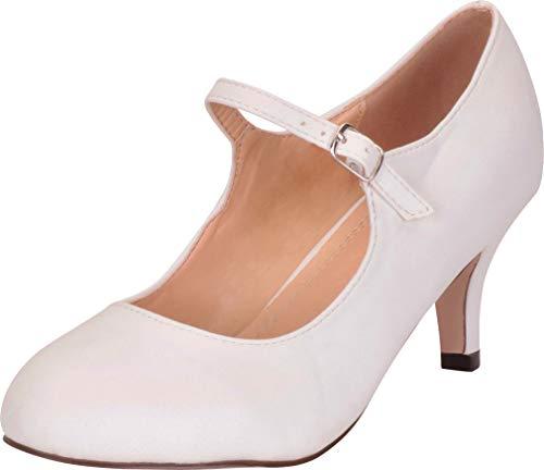(Chase & Chloe Women's Round Toe Mid Heel Mary Jane Pump (8 B(M) US, White PU))