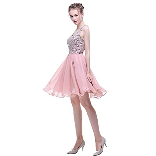 esvor Strapless Short Homecoming Dress Prom Dresses Evening Gowns Blush 8