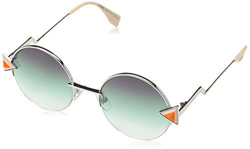 Fendi Women's Round Sunglasses, Silver Green/Green, One Size