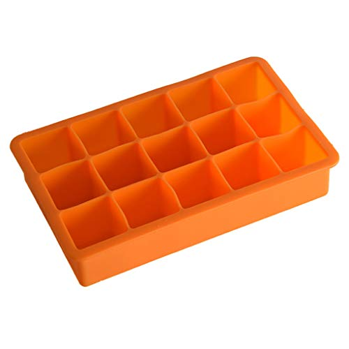 Sttech1 Silicone Ice Cube Mould, Hot Silicone Freeze Mold Bar Pudding Jelly Chocolate Maker Mold 15 Ice Cube (Orange)
