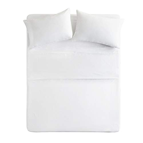 Comfort Spaces - Hypoallergenic Microfiber Sheet Set - 6 Piece - Queen Size - Wrinkle, Fade, Stain Resistant - White - Includes Flat Sheet, Fitted Sheet and 4 Pillow Cases by Comfort Spaces
