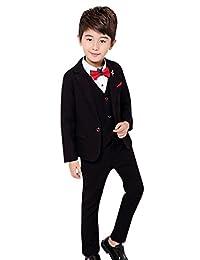 Luobobeibei Boy's Tuxedo Suit Set 3 Pcs Formal Lapel Dress Wedding Suit Set 2t-12Y