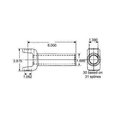 TADD TD2-3-6041X Ford C-6/T45/TREMEC 31 Spline Transmission Slip Yoke 2-3-6041X: Automotive