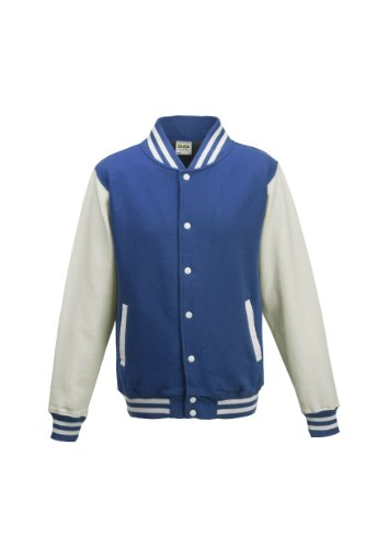 Awdis Unisex Varsity Jacket (M) (Royal Blue/White)