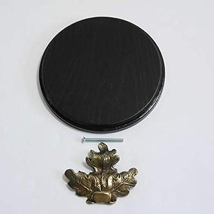 Keilerschild Keilerbrett Gewaffbrett rund dunkel AF15cm mit Eichenlaub Deckblatt