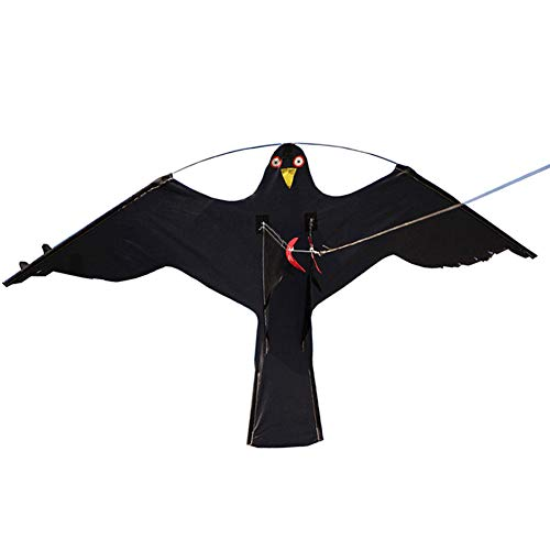 Hawk Kite for Scaring Birds - Garden Bird Repeller & Realistic Flying Pigeon Decoy Crops Pest Insect Control - Protect Farmers Crops Flying Bird Scare Kite (Black Eagle) ()