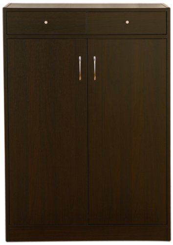 ioHOMES 5-Shelf Axis Shoes Cabinet with 2-Drawer, Cappuccino