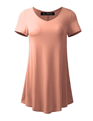 ALL FOR YOU Women's Short Sleeve V-Neck Flare - Peach Tunic Top
