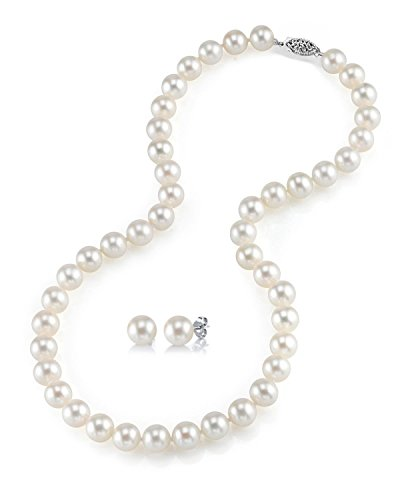 THE PEARL SOURCE 14K Gold 6.5-7mm AAAA Quality Round White Freshwater Cultured Pearl Necklace & Earrings Set in 18