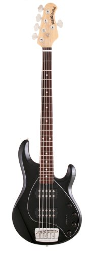Ernie Ball Music Man Stingray 5 String Bass, Black, Double Humbucker, Rosewood Board