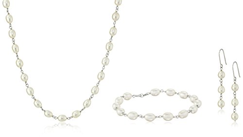 Sterling Silver and White Freshwater Cultured Pearl Bracelet, Necklace, and Earrings Jewelry Set